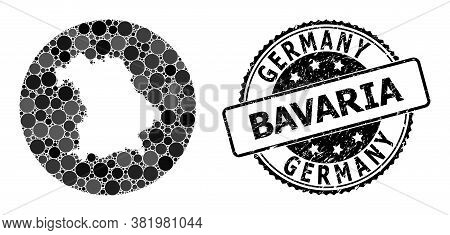 Vector Mosaic Map Of Bavaria State With Round Dots, And Gray Rubber Stamp. Stencil Round Map Of Bava