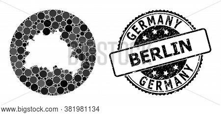 Vector Mosaic Map Of Berlin City With Circle Blots, And Grey Rubber Stamp. Hole Circle Map Of Berlin