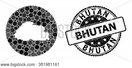 Vector Mosaic Map Of Bhutan With Circle Spots, And Gray Rubber Stamp. Stencil Round Map Of Bhutan Co