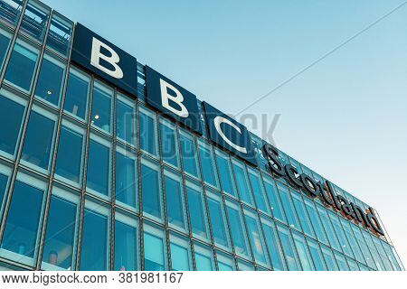 GLASGOW, UK - FEB 26, 2020: BBC Scotland headquarter building at waterfront in city center.