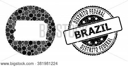 Vector Mosaic Map Of Brazil - Distrito Federal With Round Blots, And Grey Grunge Seal. Stencil Circl