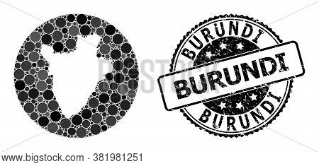 Vector Mosaic Map Of Burundi With Spheric Elements, And Gray Grunge Seal Stamp. Stencil Round Map Of