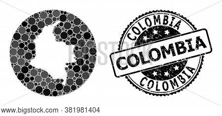 Vector Mosaic Map Of Colombia With Circle Spots, And Gray Rubber Stamp. Stencil Round Map Of Colombi