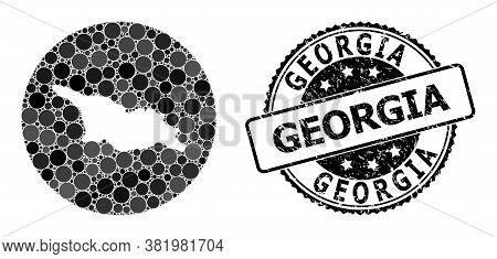 Vector Mosaic Map Of Georgia With Circle Elements, And Gray Scratched Stamp. Hole Circle Map Of Geor