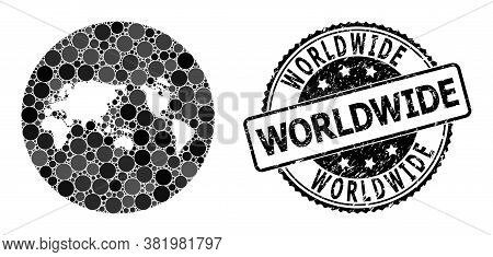 Vector Mosaic Map Of Global World With Circle Elements, And Gray Grunge Stamp. Subtraction Round Map