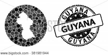 Vector Mosaic Map Of Guyana From Circle Dots, And Gray Rubber Stamp. Subtraction Round Map Of Guyana