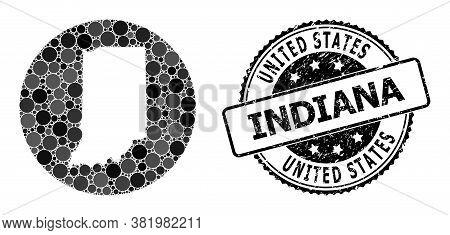 Vector Mosaic Map Of Indiana State Of Circle Items, And Grey Watermark Seal Stamp. Stencil Circle Ma