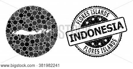 Vector Mosaic Map Of Indonesia - Flores Islands With Spheric Dots, And Grey Watermark Seal. Subtract