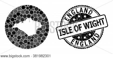 Vector Mosaic Map Of Isle Of Wight With Circle Items, And Grey Scratched Seal. Hole Circle Map Of Is