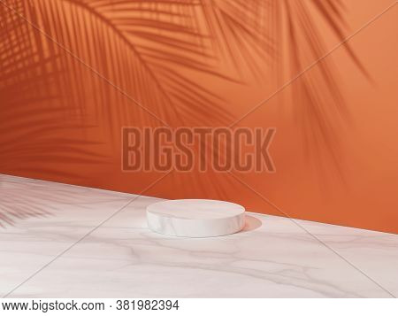 3d Pedestal Podium, Orange Background With Palm Tree Leaves Shadow. Summer Holiday Beauty, Cosmetics