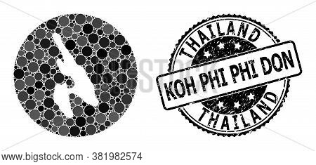 Vector Mosaic Map Of Koh Phi Don Of Round Elements, And Grey Watermark Seal. Subtraction Circle Map