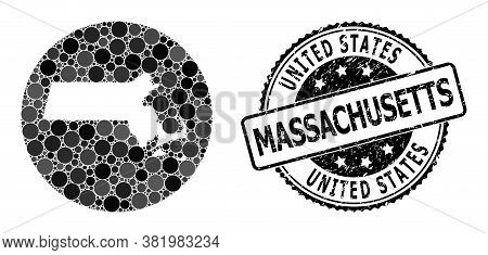 Vector Mosaic Map Of Massachusetts State Of Round Elements, And Gray Scratched Stamp. Hole Round Map