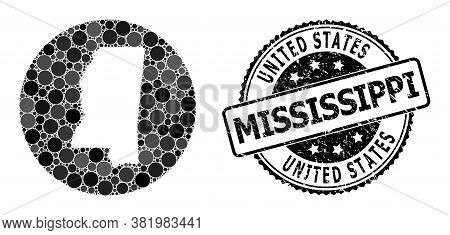 Vector Mosaic Map Of Mississippi State With Round Items, And Gray Grunge Seal. Subtraction Round Map