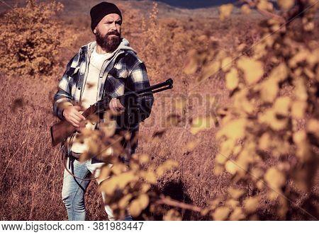 Autumn Hunting Season. Hunter With Shotgun Gun On Hunt. Hunter Man With Hunt Hunting Rifle. Male Wit