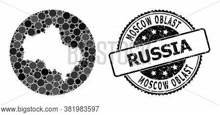 Vector Mosaic Map Of Moscow Region From Round Elements, And Gray Scratched Seal. Subtraction Round M