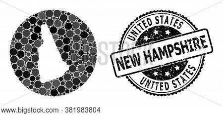 Vector Mosaic Map Of New Hampshire State From Round Dots, And Grey Watermark Seal Stamp. Subtraction