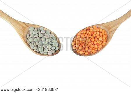 Red And Green Lentils In Wooden Spoon Isolated On White Background. Uncooked Lentil Legumes, Herbace