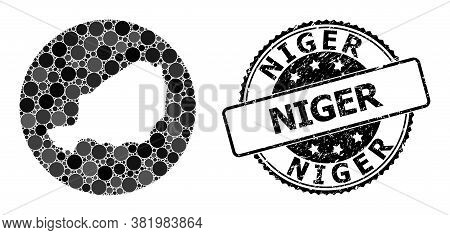 Vector Mosaic Map Of Niger With Round Items, And Gray Watermark Seal Stamp. Stencil Round Map Of Nig