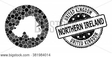 Vector Mosaic Map Of Northern Ireland With Spheric Spots, And Gray Grunge Seal Stamp. Stencil Round