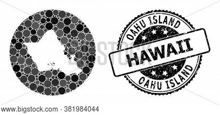 Vector Mosaic Map Of Oahu Island From Round Elements, And Grey Rubber Stamp. Stencil Round Map Of Oa