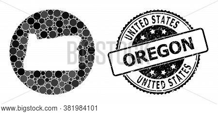 Vector Mosaic Map Of Oregon State Of Round Dots, And Gray Rubber Seal Stamp. Subtraction Round Map O