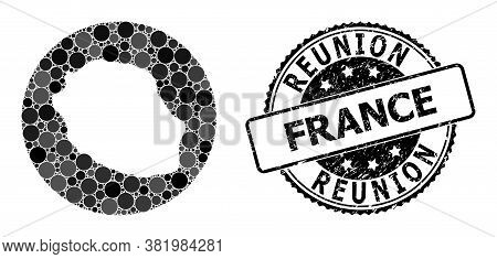 Vector Mosaic Map Of Reunion Island Of Round Items, And Gray Grunge Stamp. Stencil Round Map Of Reun
