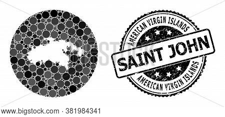 Vector Mosaic Map Of Saint John Island With Round Items, And Grey Rubber Stamp. Stencil Round Map Of