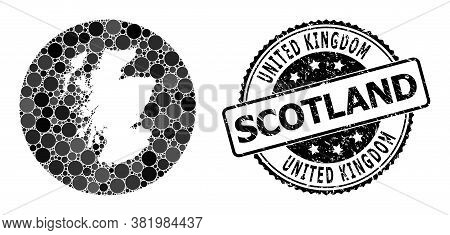 Vector Mosaic Map Of Scotland Of Round Dots, And Gray Watermark Stamp. Subtraction Round Map Of Scot