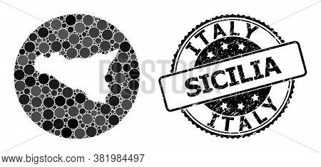 Vector Mosaic Map Of Sicilia Island With Round Blots, And Grey Grunge Stamp. Hole Circle Map Of Sici