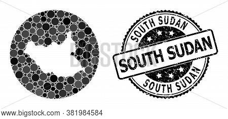 Vector Mosaic Map Of South Sudan With Round Dots, And Grey Watermark Stamp. Subtraction Round Map Of