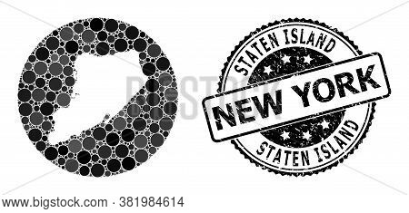 Vector Mosaic Map Of Staten Island With Circle Spots, And Gray Watermark Seal Stamp. Hole Circle Map