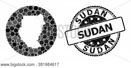 Vector Mosaic Map Of Sudan With Circle Spots, And Grey Watermark Seal. Subtraction Round Map Of Suda
