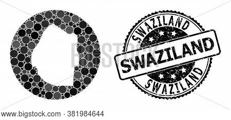 Vector Mosaic Map Of Swaziland Of Round Items, And Gray Rubber Seal Stamp. Subtraction Circle Map Of