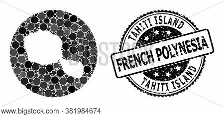 Vector Mosaic Map Of Tahiti Island With Circle Elements, And Gray Rubber Seal. Subtraction Circle Ma