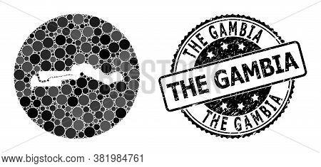 Vector Mosaic Map Of The Gambia With Circle Dots, And Grey Watermark Seal. Stencil Circle Map Of The
