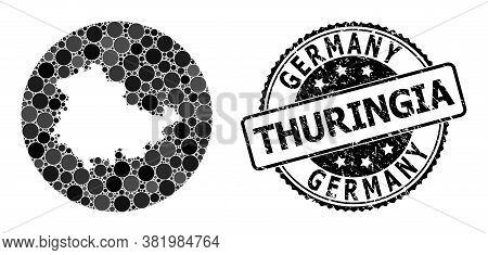 Vector Mosaic Map Of Thuringia State With Circle Elements, And Grey Watermark Seal Stamp. Stencil Ro