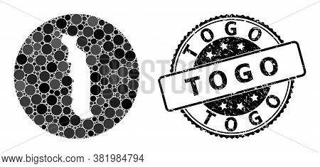 Vector Mosaic Map Of Togo With Round Blots, And Grey Scratched Stamp. Hole Round Map Of Togo Collage
