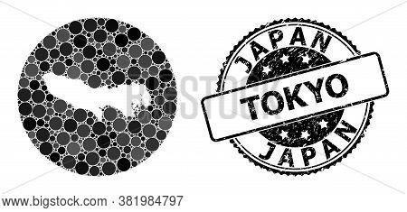Vector Mosaic Map Of Tokyo Prefecture Of Circle Blots, And Gray Grunge Seal. Subtraction Circle Map