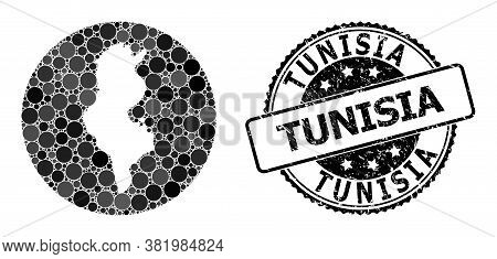 Vector Mosaic Map Of Tunisia With Circle Dots, And Gray Rubber Seal. Hole Circle Map Of Tunisia Coll