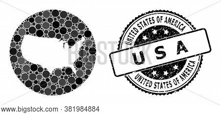 Vector Mosaic Map Of Usa With Spheric Dots, And Grey Watermark Seal Stamp. Subtraction Round Map Of