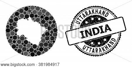 Vector Mosaic Map Of Uttarakhand State Of Circle Dots, And Grey Watermark Seal. Stencil Round Map Of