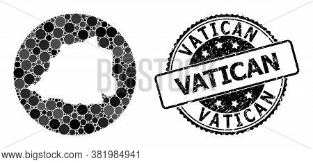 Vector Mosaic Map Of Vatican Of Circle Spots, And Gray Scratched Seal. Stencil Circle Map Of Vatican