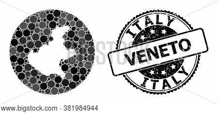 Vector Mosaic Map Of Veneto Region With Circle Blots, And Gray Grunge Seal Stamp. Stencil Circle Map