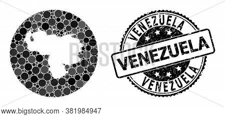 Vector Mosaic Map Of Venezuela With Round Elements, And Gray Scratched Stamp. Hole Round Map Of Vene