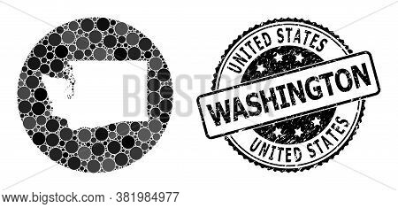 Vector Mosaic Map Of Washington State With Round Dots, And Gray Rubber Stamp. Hole Round Map Of Wash