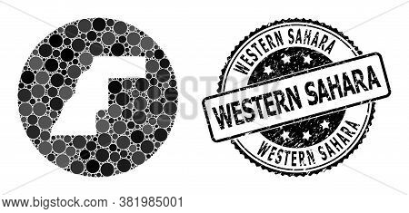 Vector Mosaic Map Of Western Sahara With Round Dots, And Grey Grunge Stamp. Stencil Round Map Of Wes