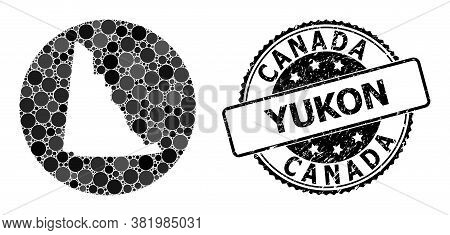 Vector Mosaic Map Of Yukon Province With Round Blots, And Gray Scratched Seal Stamp. Stencil Circle