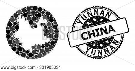 Vector Mosaic Map Of Yunnan Province With Circle Blots, And Gray Watermark Stamp. Subtraction Circle