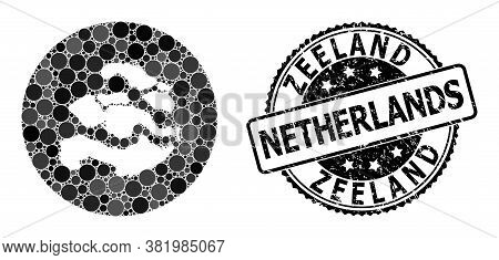 Vector Mosaic Map Of Zeeland Province With Round Dots, And Grey Watermark Seal Stamp. Subtraction Ro