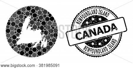 Vector Mosaic Newfoundland Island Map With Spheric Blots, And Grey Scratched Stamp. Stencil Circle N